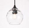 Living District LD2280 Cashel 1 light Black and Clear glass pendant