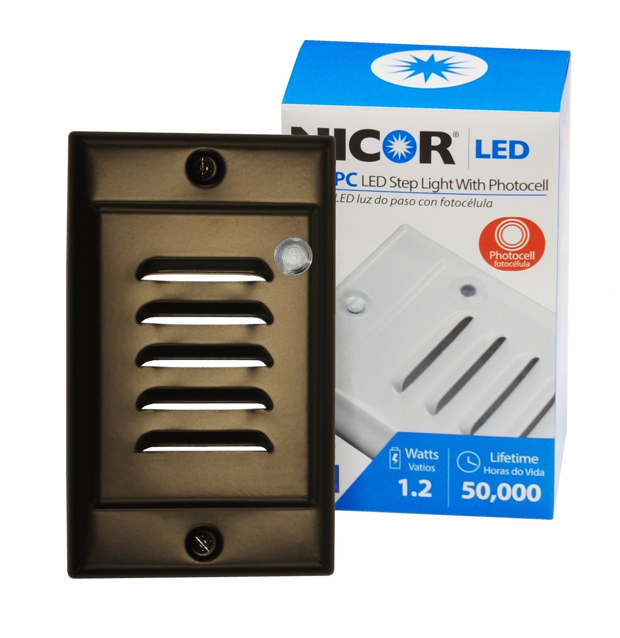 Nicor Lighting Stp 10 120 Vob Pc Led Step Light With Photocell Photocells For Lights Sensor Including Oil Rubbed Bronze Vertical Faceplate
