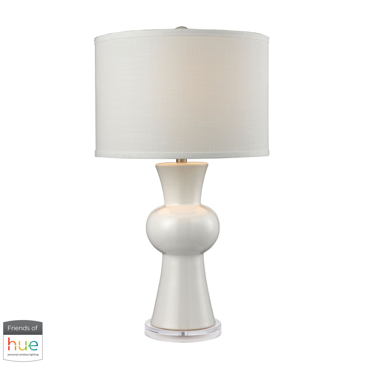 Dimond Lighting D2618 Hue D White Ceramic Table Lamp With Textured White Linen Hardback Shade With Philips Hue Led Bulb Dimmer