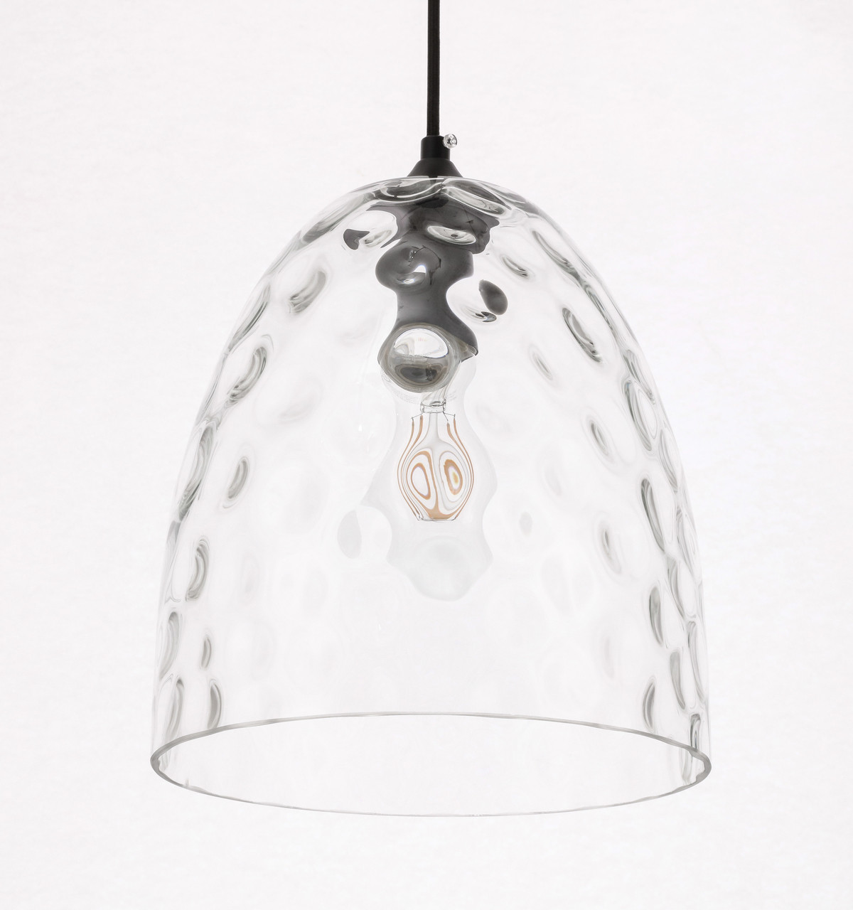 Living District LD2284 Gibson 1 light Black and Clear glass pendant