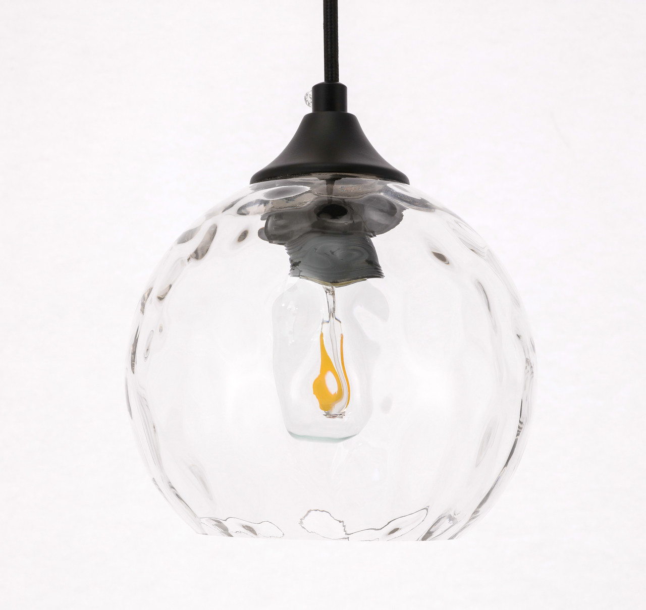 Living District LD2280 Cashel 1 light Black and Clear glass pendant