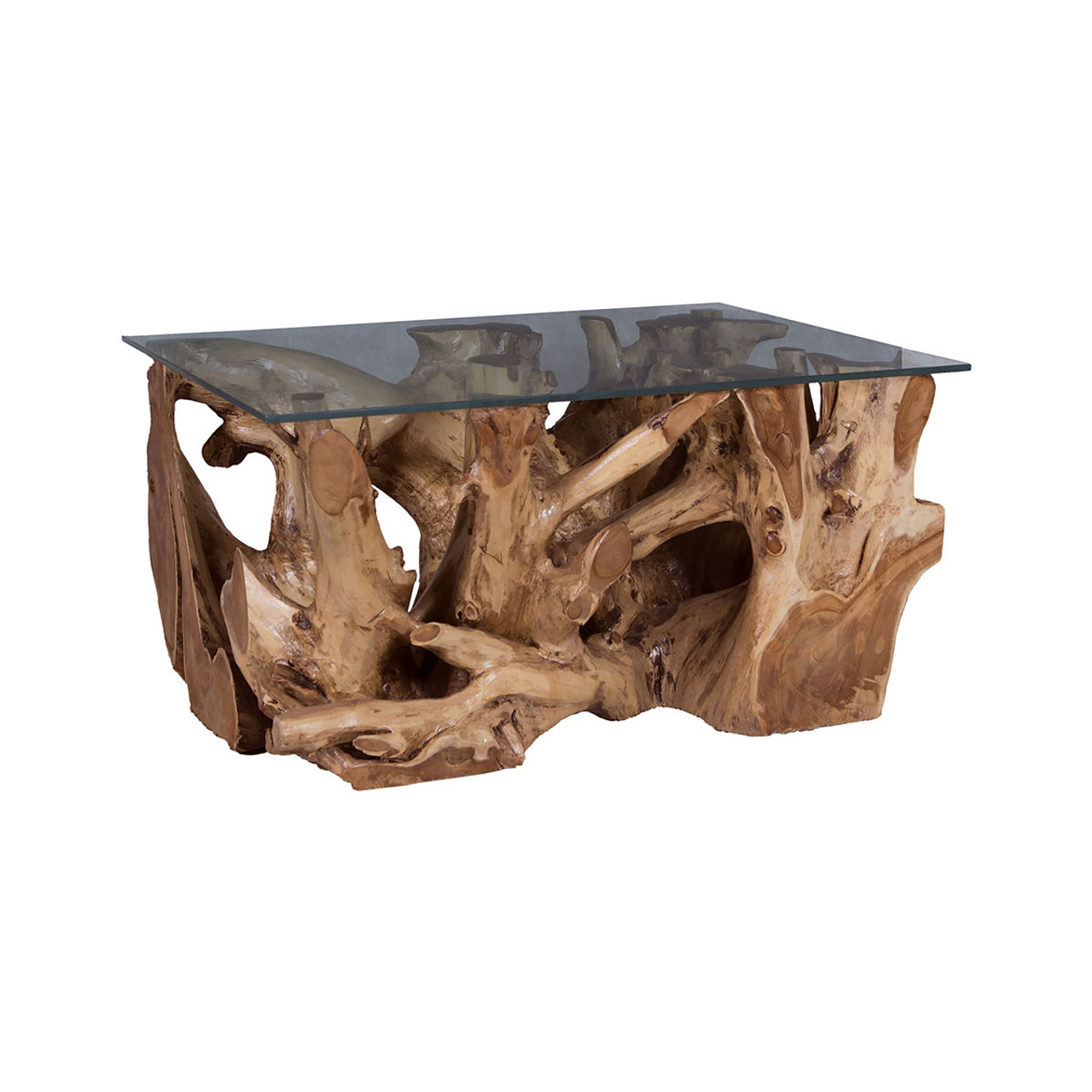 ... ROOT COFFEE TABLE WITH GLASS TOP. 7117514