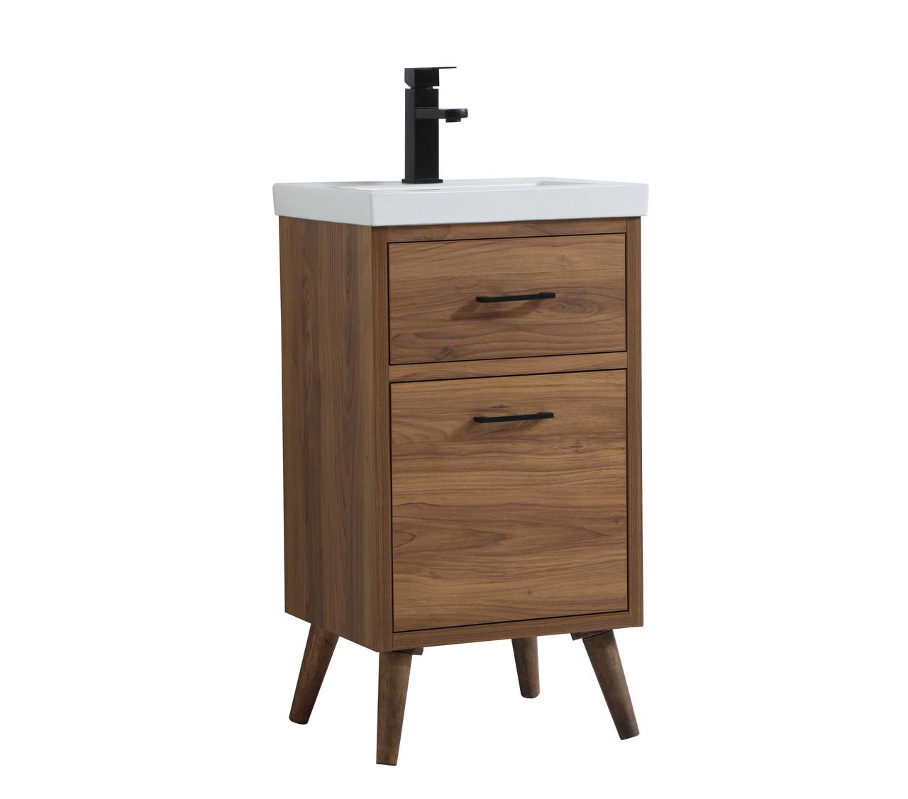 Elegant Decor Vf41018wb Boise 18 Inch Bathroom Vanity In Walnut Brown