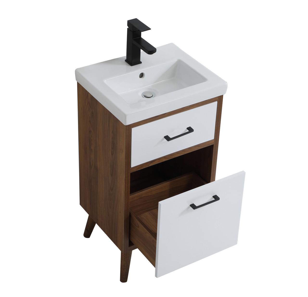 Elegant Decor Vf41018wh Boise 18 Inch Bathroom Vanity In Matte White