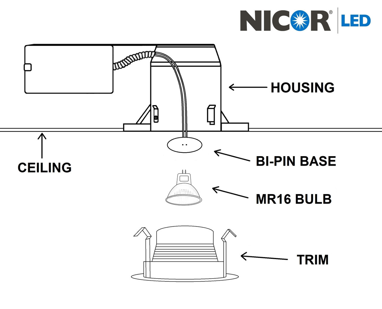 NICOR 14003 4 in. White Recessed Trim with Black Baffle for MR16 Bulb