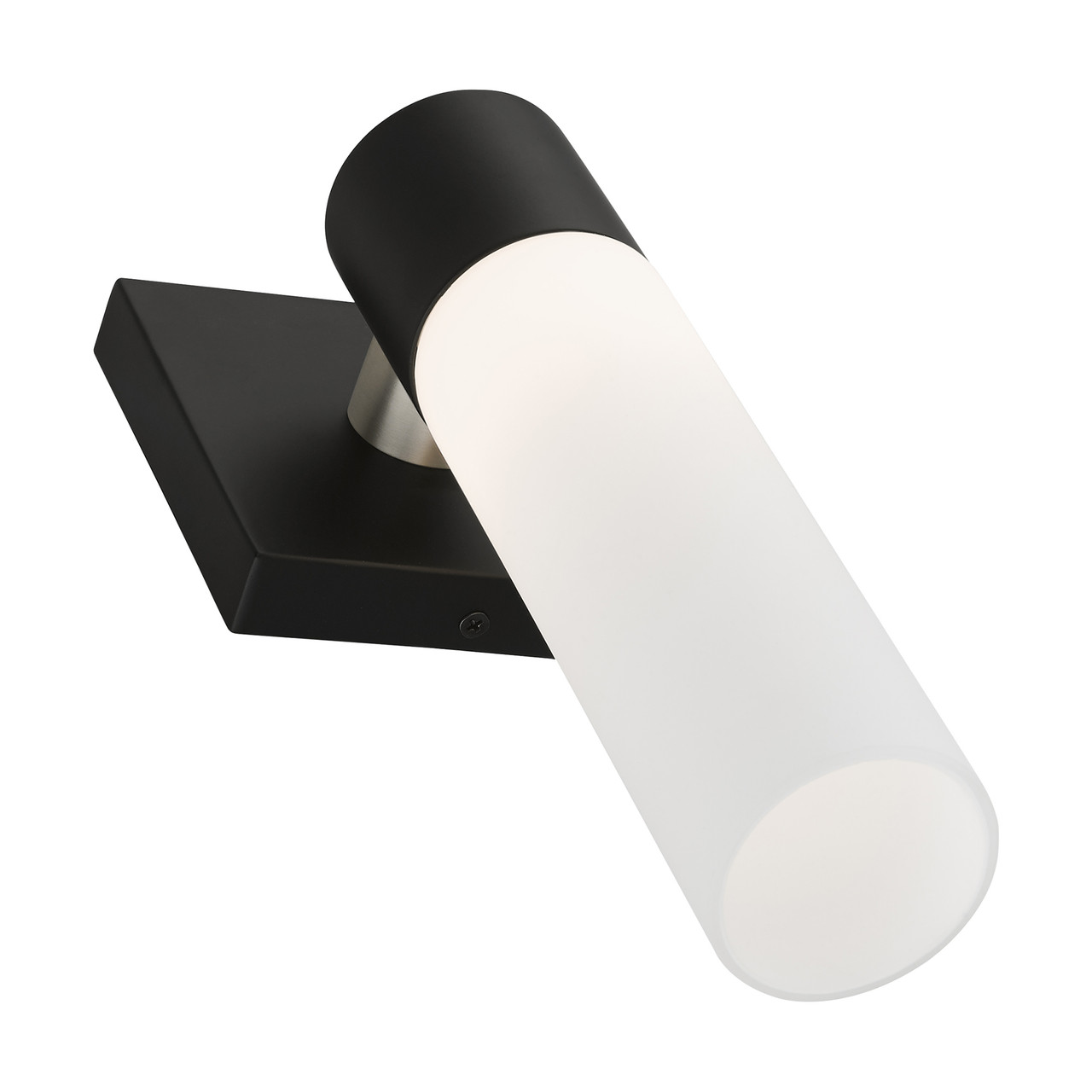 LIVEX LIGHTING 10101-04 Black ADA Single Sconce Black with Brushed Nickel Accent