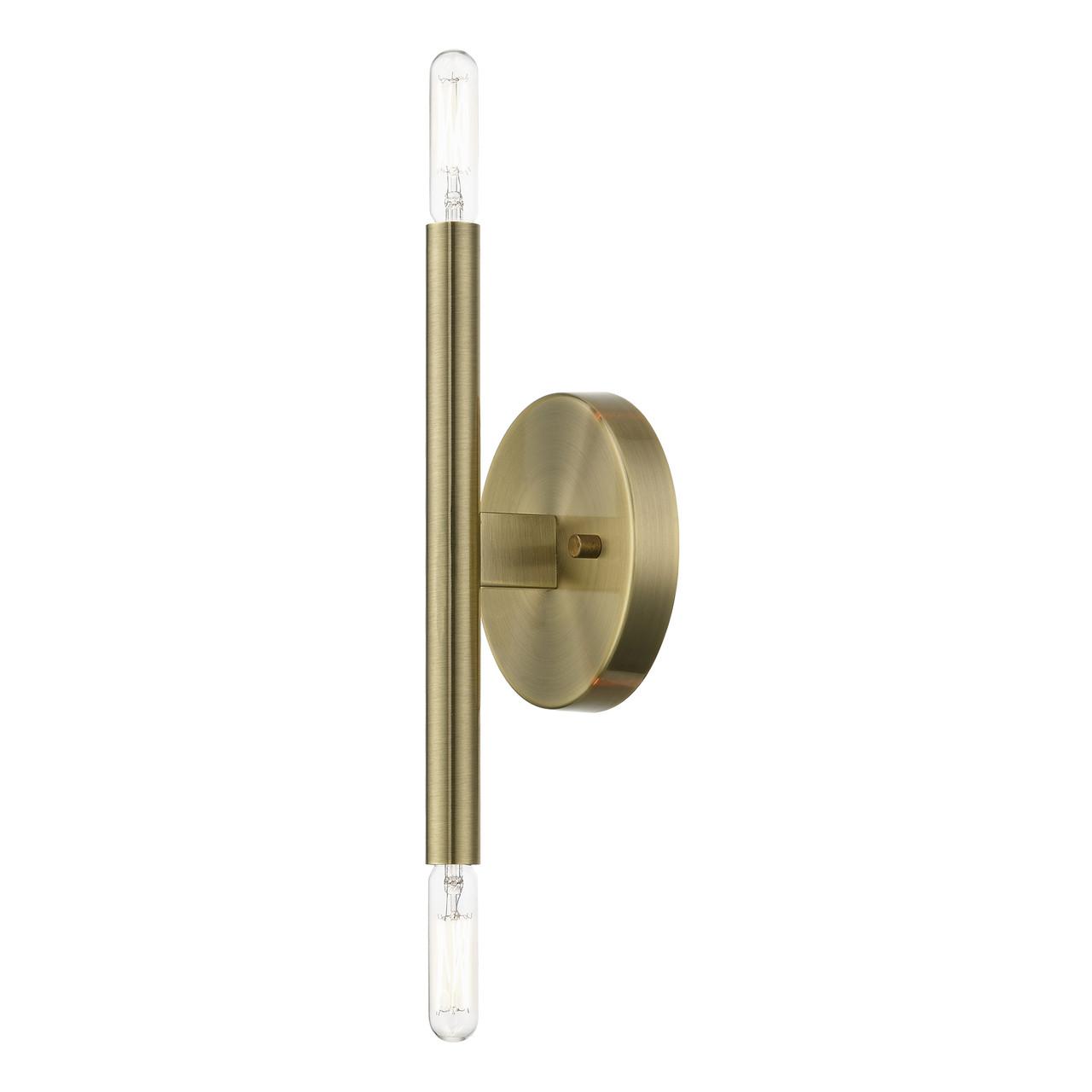 LIVEX LIGHTING 51172-01 Antique Brass ADA 2-Llght Wall Sconce Antique Brass