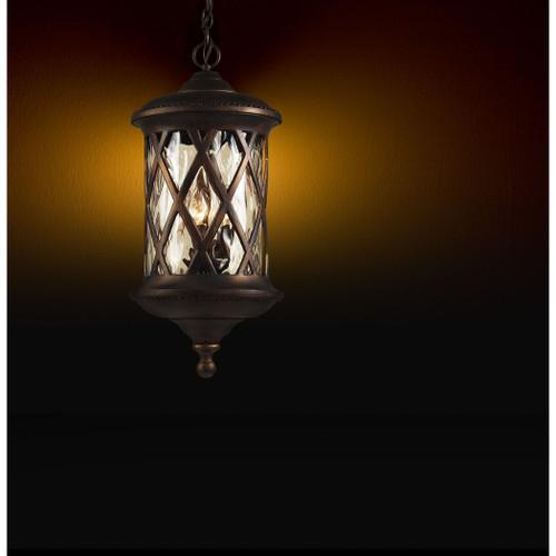 ELK LIGHTING 42033/3 Barrington Gate 3 Light Outdoor Pendant In Hazlenut Bronze And Designer Water Glass