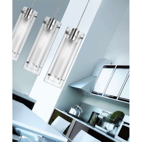 DAINOLITE 22152-CF-PC 1 Light Pendant, Polished Chrome Finish, Clear Frosted Glass