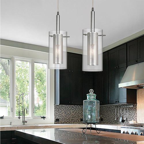 DAINOLITE 30961-CM-OBB 1 Light Pendant, Oil Brushed Bronze, Clear Glass / Steel Mesh