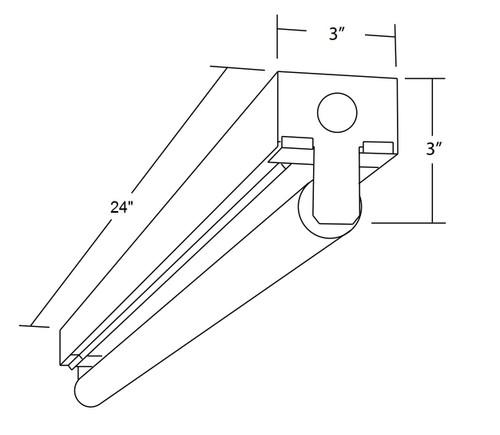 NICOR LIGHTING 10390EB 2 Ft. Single Lamp T8 Fluorescent Linear Strip Light Fixture
