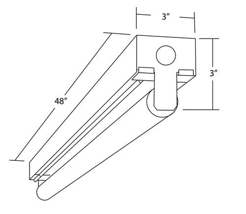 NICOR LIGHTING 10392EB 4 Ft. Single Lamp T8 Fluorescent Linear Strip Light Fixture