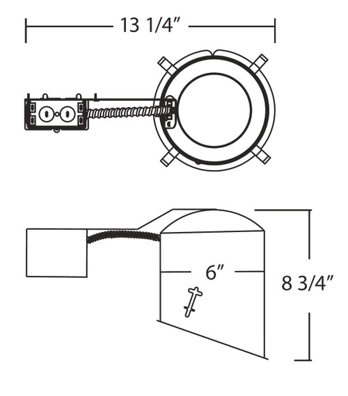 NICOR LIGHTING 17020R 6 inch Sloped Recessed Housing for Remodel Applications, Non-IC