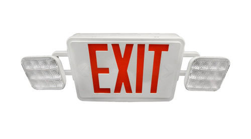 NICOR LIGHTING ECL1-10-UNV-WH-R-2 LED Emergency Exit Sign with Dual Adjustable LED Heads, White with Red Lettering