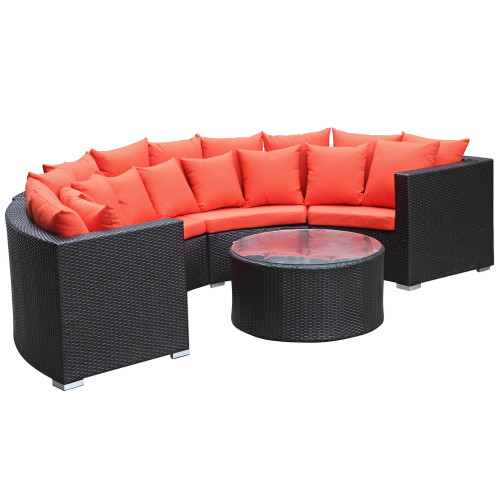 Fine Mod Imports FMI10075-orange Roundano Outdoor Sofa Orange Cushions