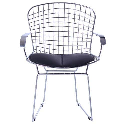 Fine Mod Imports FMI10089-black Wire Arm Chair, Black