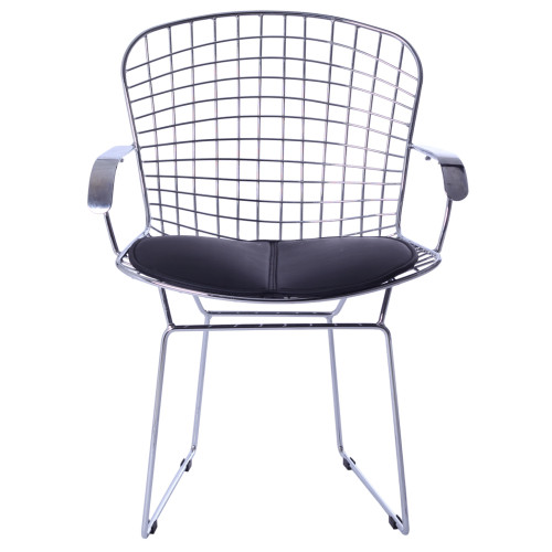 Fine Mod Imports FMI10089-black Wire Arm Chair, Black