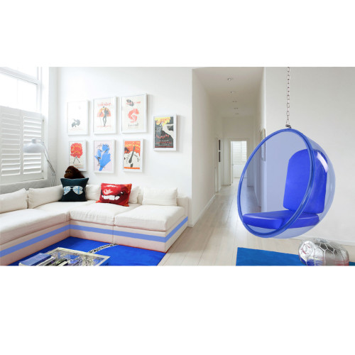 Fine Mod Imports FMI10152-blue Bubble Hanging Chair Blue Acrylic, Blue