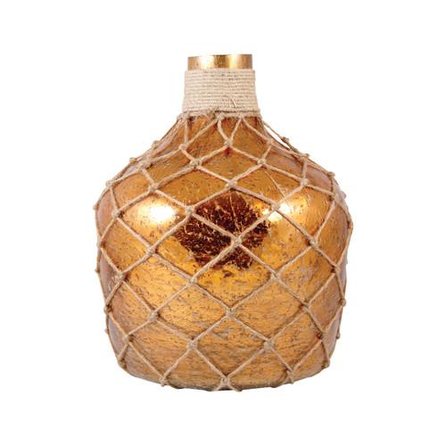 POMEROY 518638 Galloway Bottle With Jute Medium, Antique Amber Artifact