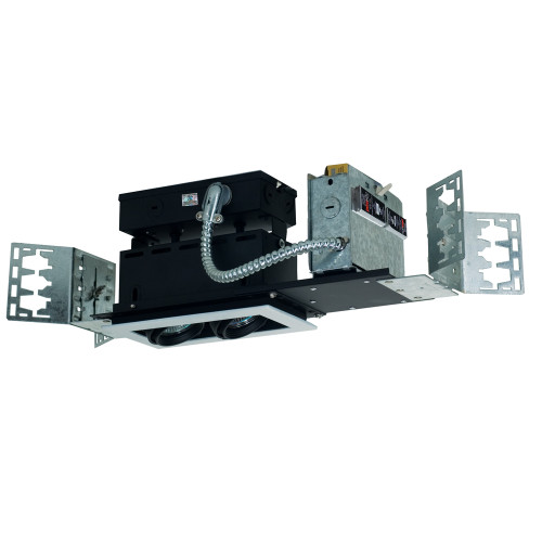 JESCO LIGHTING MMGGU1050-2WB 2-Light Line Voltage New Construction Modulinear Directional Recessed Lighting Fixture