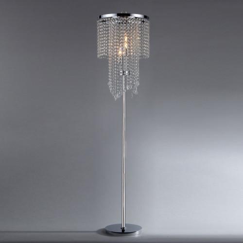 WAREHOUSE OF TIFFANY FL9262 Chrome and Crystal Floor Lamp