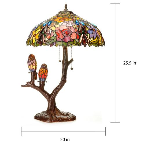 WAREHOUSE OF TIFFANY 3246+3094AB+BB888 Tiffany-style Warehouse of Tiffany Sarah Camille Table Lamp