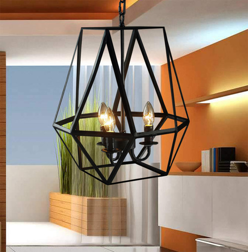 WAREHOUSE OF TIFFANY LD4010 Shandie Antique Bronze Geometric Edison Chandelier with Bulbs