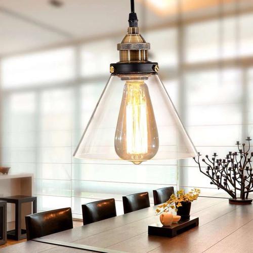 WAREHOUSE OF TIFFANY LD4033 Zhuri 8-inch Adjustable Cord Glass Edison Lamp with Light Bulb