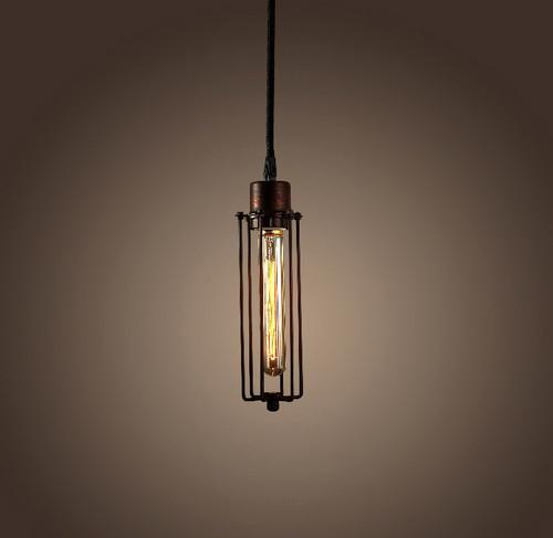 WAREHOUSE OF TIFFANY LD4039 Susanna 1-light Adjustable Height Antique Edison Pendant with Bulb