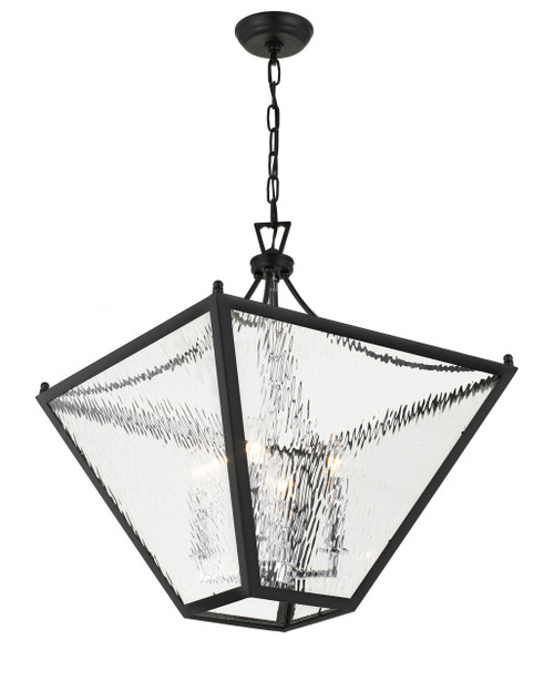 CRYSTORAMA PAR-698-MK-CH Park Hill 6 Light Matte Black & Polished Chrome Large Lantern