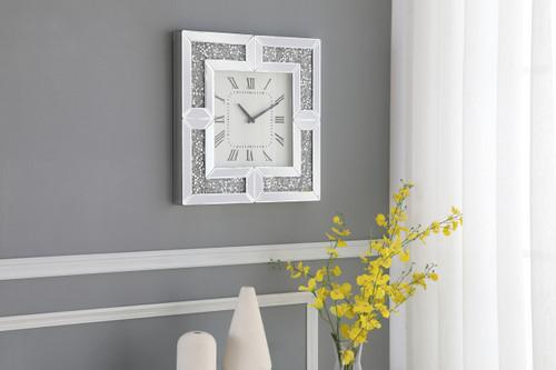 ELEGANT DECOR MR9208 20 inch Square Crystal Wall Clock Silver Royal Cut Crystal