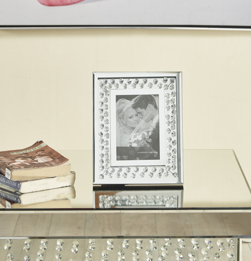 ELEGANT DECOR MR9104 Sparkle 10 in. Contemporary Crystal Photo frame in Clear