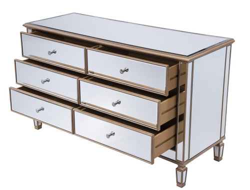 ELEGANT DECOR MF6-1136G 6 Drawers Cabinet 60 in. x 20 in. x 34 in. in Gold paint