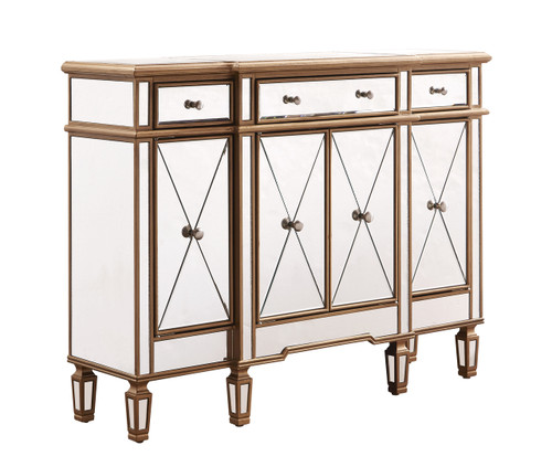 ELEGANT DECOR MF6-1110GC 3 Drawer 4 Door Cabinet 48 .In. X 14 In. X 36 In. In Gold Clear