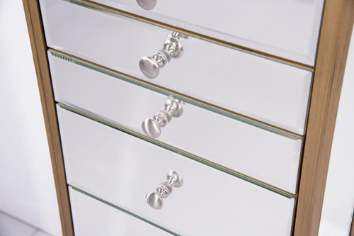 ELEGANT DECOR MF6-1103GC 7 Drawer Jewelry Armoire 18 in. x 12 in. x 41 in. in Gold Clear