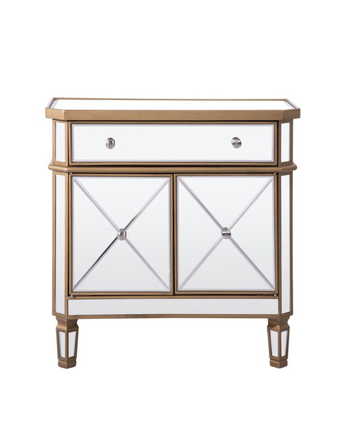 ELEGANT DECOR MF6-1102GC 1 Drawer 2 Door Cabinet 32 in. x 16 in. x 32 in. in Gold Clear