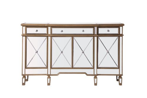 ELEGANT DECOR MF6-1101GC 3 Drawer 4 Door Cabinet 60 in. x 14 in. x 36 in. in Gold Clear