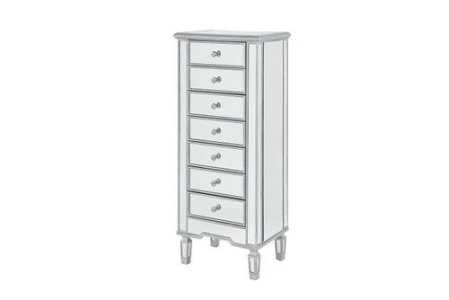 ELEGANT DECOR MF6-1047S Lingerie Chest 7 drawers 20in. W x 15in. D x 48in. H in antique silver paint
