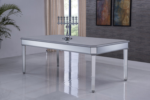 ELEGANT DECOR MF6-1038S Dinning table 80 in. x 44 in. x 30 in. in Silver paint