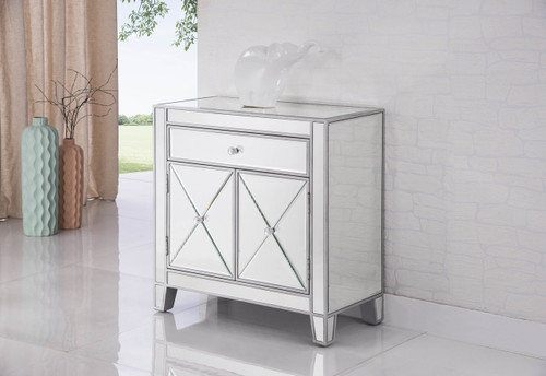 ELEGANT DECOR MF6-1034 1 Drawer 2 Doors Cabinet 28 in. x 13-1/4 in. x 28-1/4 in. in Silver paint