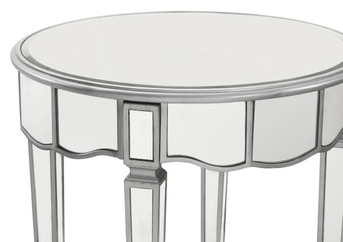 ELEGANT DECOR MF6-1023S Round Lamp Table D24 in. x 26 in. in Silver paint