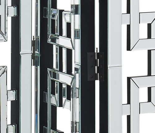 ELEGANT DECOR MF6-1018 3-Panel Room Divider Screen 72 in. x 48 in. in Silver paint