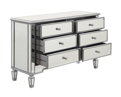 ELEGANT DECOR MF6-1017S 6 Drawer Dresser 48 in. x 18 in. x 32 in. in Silver paint