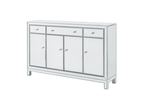 ELEGANT DECOR MF72001 Buffet Cabinet 3 drawers 4 doors 56in. W x 13in. D x 36in. H in antique silver paint