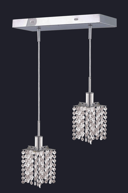 ELEGANT LIGHTING 1282D-O-P-CL03/RC Mini Collection Chandelier Oblong Canopy L8inx4.5in H12in-48in Star Pendant Lt:2 Chrome Finish (Clear Royal Cut Crystals)