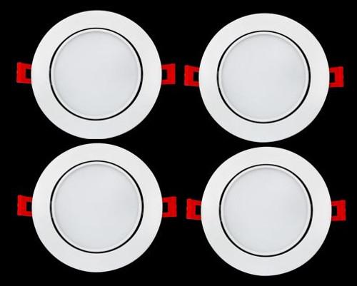 "ELITCO LIGHTING SMG61230K-4PK 6""12W 3000K 650Lm Round Gimbal 30?? Tilting White Finish  CRI80"