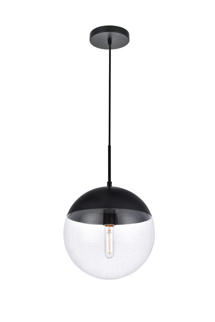 LIVING DISTRICT LD6039BK Eclipse 1 Light Black Pendant With Clear Glass