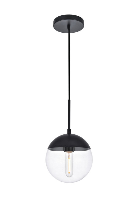 LIVING DISTRICT LD6027BK Eclipse 1 Light Black Pendant With Clear Glass