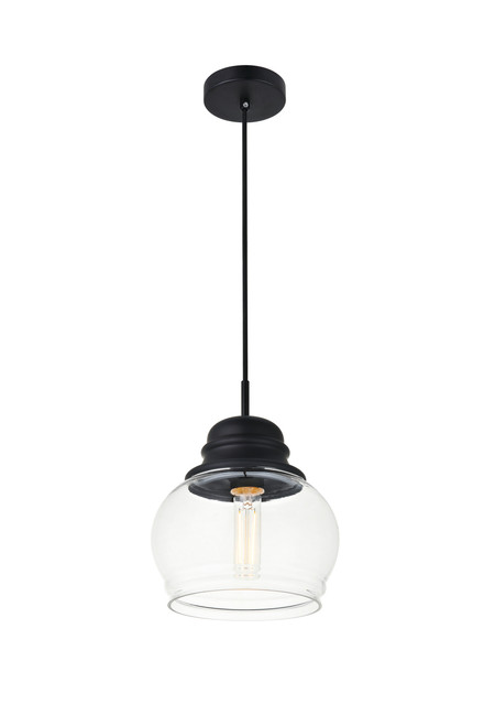 LIVING DISTRICT LD2252BK Kenna 1 Light Black Pendant With Clear Glass