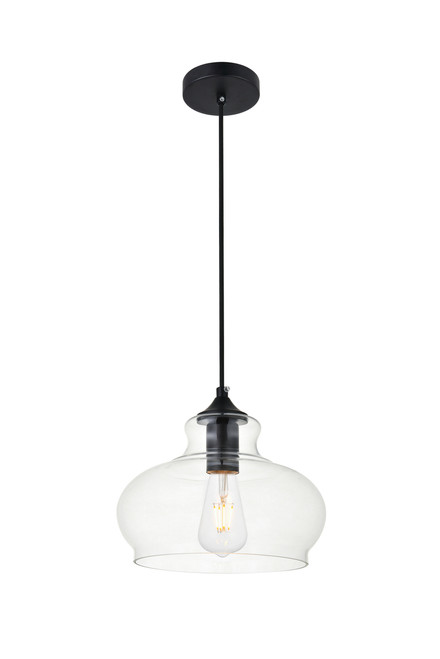 LIVING DISTRICT LD2246BK Destry 1 Light Black Pendant With Clear Glass